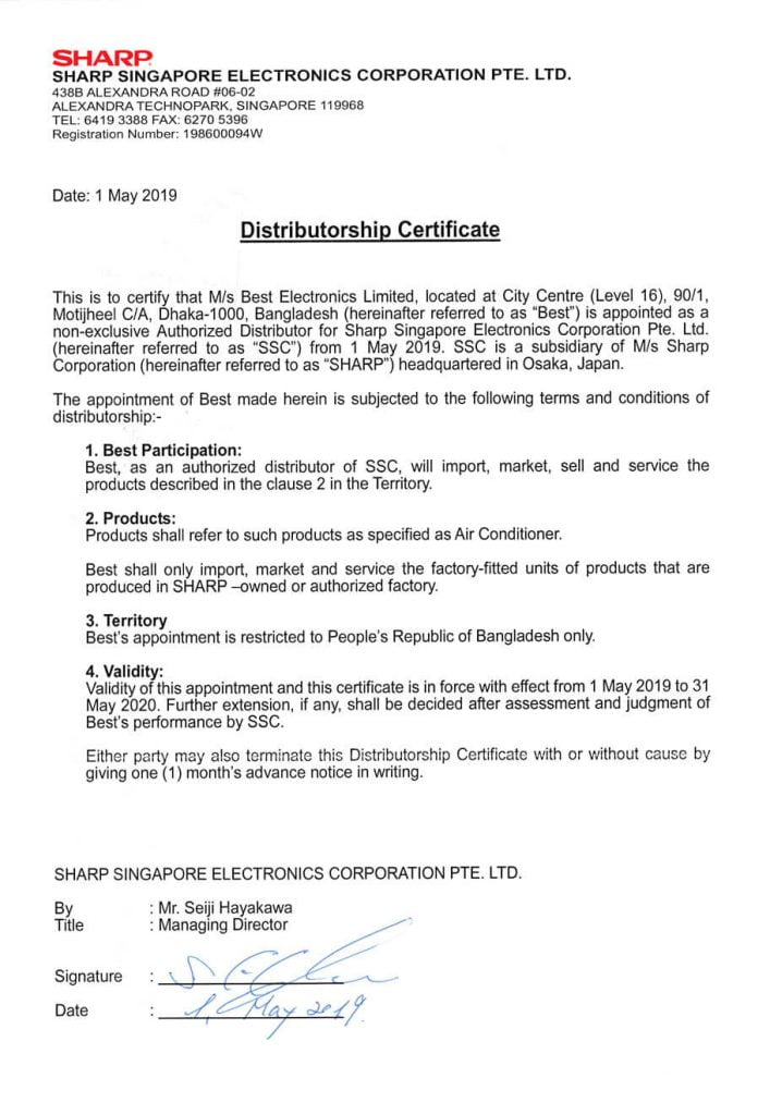 Best Electronics Becomes Authorized Distributor of Sharp